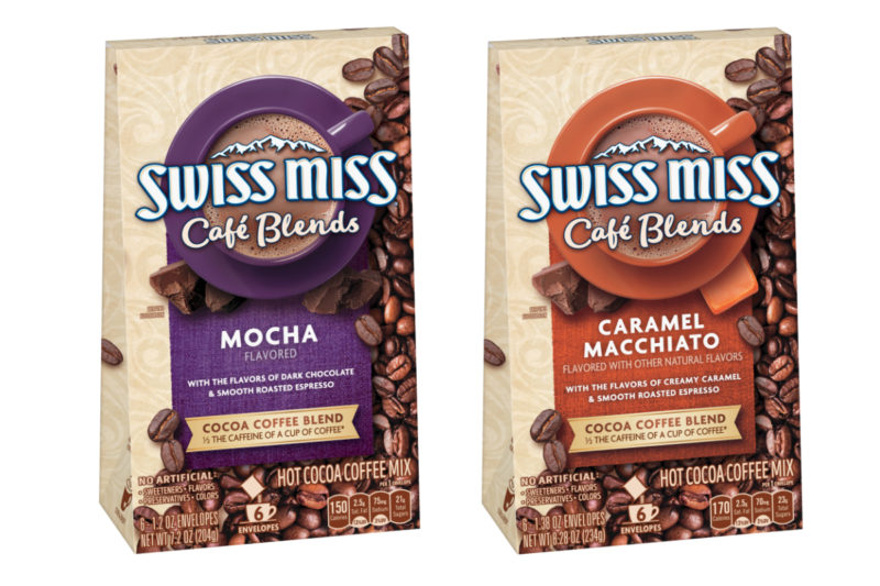 Coffee and cocoa collide in new Swiss Miss Café Blends from Conagra Brands, Inc. Made with premium imported cocoa and espresso, the drink mixes come in two varieties: caramel macchiato and mocha. Swiss Miss Café Blends contain half the caffeine of one 8-oz cup of brewed coffee and may be made by mixing into hot water or milk.