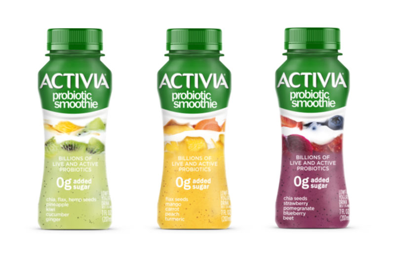 New from Danone North America, Activia Probiotic Smoothies blend live and active probiotics with fruits, vegetables and seeds to create lowfat yogurt drinks. Containing no added sugars, the smoothies come in three varieties: chia seeds, flax seeds, hemp seeds, pineapple, kiwi, cucumber and ginger; flax seeds, mango, carrot, peach and turmeric; and chia seeds, strawberry, pomegranate, blueberry and beet.
