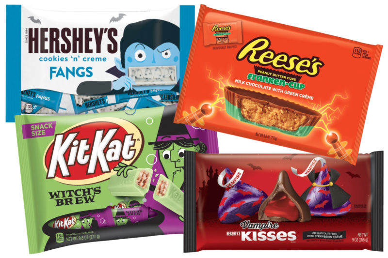 The Hershey Co. is unleashing four new treats for Halloween.  Reese's Franken-Cups are milk chocolate and green crème cups filled with peanut butter. The peanut butter cups come in three sizes: snack, standard and king.  Kit Kat Witch's Brew are marshmallow flavored Kit Kat wafers dipped in green crème.  Hershey's Vampire Kisses are milk chocolate drops filled with strawberry-flavored crème.  Hershey's Cookies 'N' Crème Fangs are mini cookies and cream bars featuring a pair of fangs on each pip.