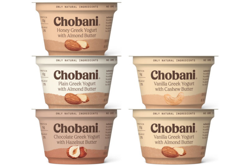 Chobani is combining its Greek yogurt with nut butters in a new lineup.