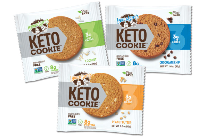 Lenny & Larry's is catering to low-carb consumers with the new Keto Cookie, set to hit shelves in October. Featuring 8 grams of plant-based protein and 3 grams of net carbs, the vegan cookies are grain- and gluten-free. The Non-GMO Project Verified cookies are sweetened with stevia and organic erythritol and come in three flavors: chocolate chip, coconut and peanut butter.