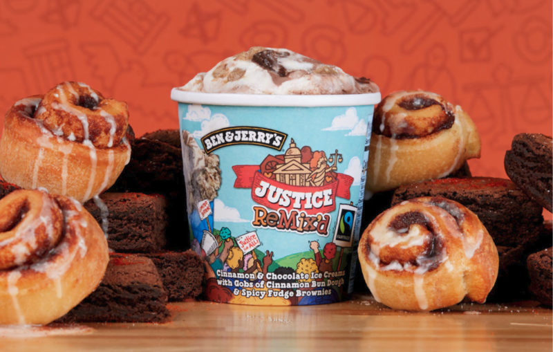 Unilever P.L.C.'s Ben & Jerry's Brand is launching Justice Remix'd, a new ice cream flavor mixing cinnamon and chocolate ice creams with pieces of cinnamon bun dough and spicy fudge brownies. Made with Fair Trade certified ingredients and cage-free eggs, the ice cream contains 340 calories per ?-cup serving.