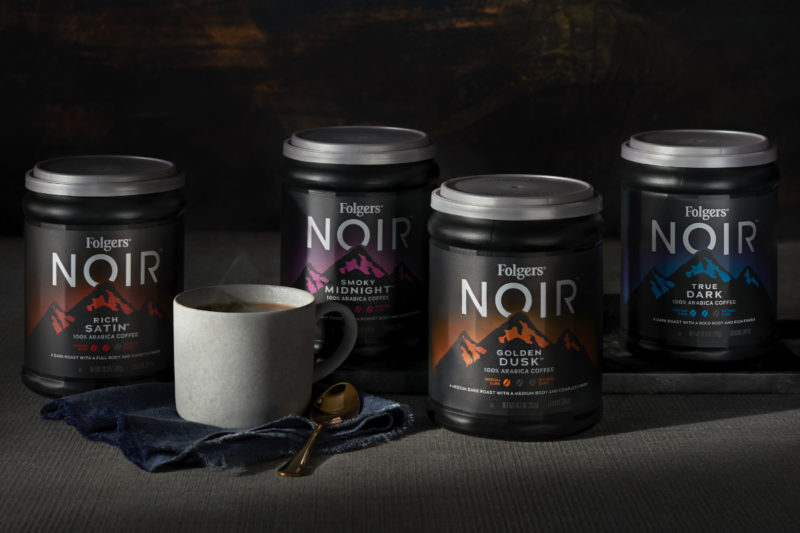 The J.M. Smucker Co. is introducing Folgers Noir, a portfolio of dark roasted coffee in ground, K-Cup, instant and instant coffee stick formats. Flavors include Golden Dusk, a medium-dark roast coffee with a medium body and complex finish; Rich Satin, a dark roast coffee with a full body and smooth finish; Smoky Midnight, an intensely dark roast coffee with a robust body and smoky finish; and True Dark, a dark roast coffee with a bold body and rich finish.