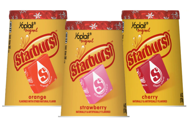 General Mills, Inc. has teamed up with Mars, Inc. to create a new yogurt candy mashup: Starburst flavored Yoplait yogurt. Containing 150 calories per 6-oz container, the low-fat yogurt comes in in three Starburst candy-inspired flavors: cherry, strawberry and orange.