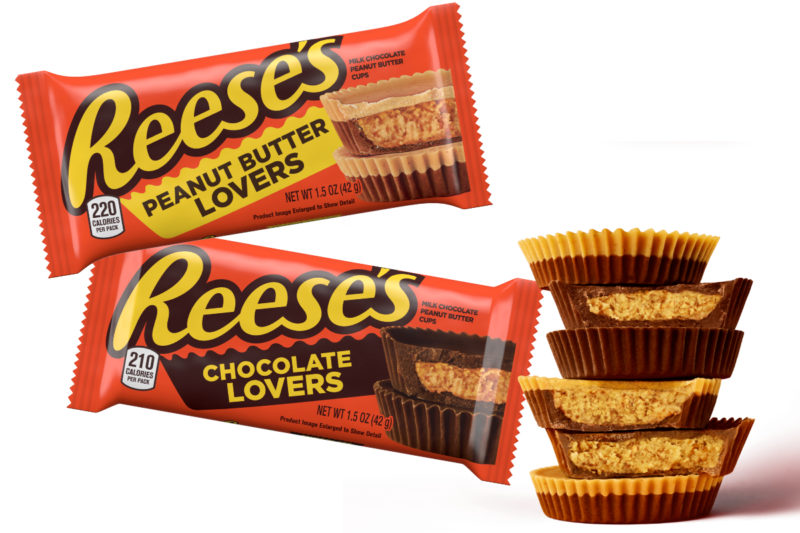 The Hershey Co. is offering two new versions of its Reese's Peanut Butter Cups to appeal to those who prefer more peanut butter and those who want to chomp into more chocolate. New Reese's Chocolate Lovers cups feature a smaller core of peanut butter to make room for more milk chocolate, and Reese's Peanut Butter Lovers cups feature a thicker peanut butter core with an extra layer of peanut butter on top.