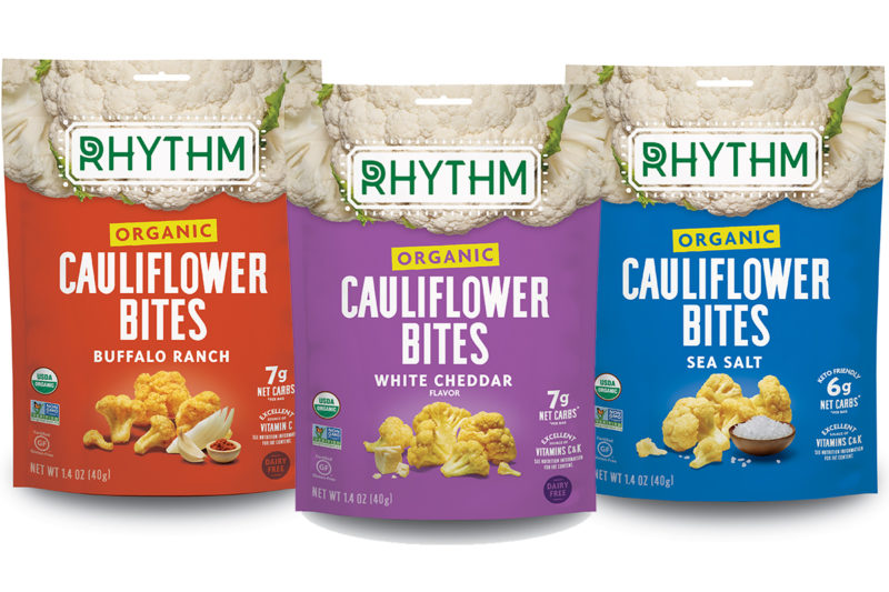 Rhythm Superfoods is unveiling organic Cauliflower Bites in sea salt, buffalo ranch and vegan white cheddar varieties. The snacks are crisped at a low heat to preserve crunch and flavor and contain 3 grams of protein and 3 grams of fiber per serving.