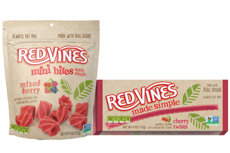 Red Vines is expanding its Made Simple licorice line with cherry twists and mixed berry bites. The products contain no artificial flavors, colors or sweeteners.