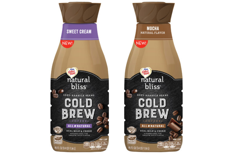 Nestle's Coffee-Mate brand is adding ready-to-drink cold brew coffee to its natural bliss line. Available in sweet cream and mocha varieties, the non-G.M.O. coffee is made with 100% Arabica beans, nonfat milk, cane sugar, heavy cream, natural flavor and baking soda. The mocha flavor also contains sea salt and cocoa.