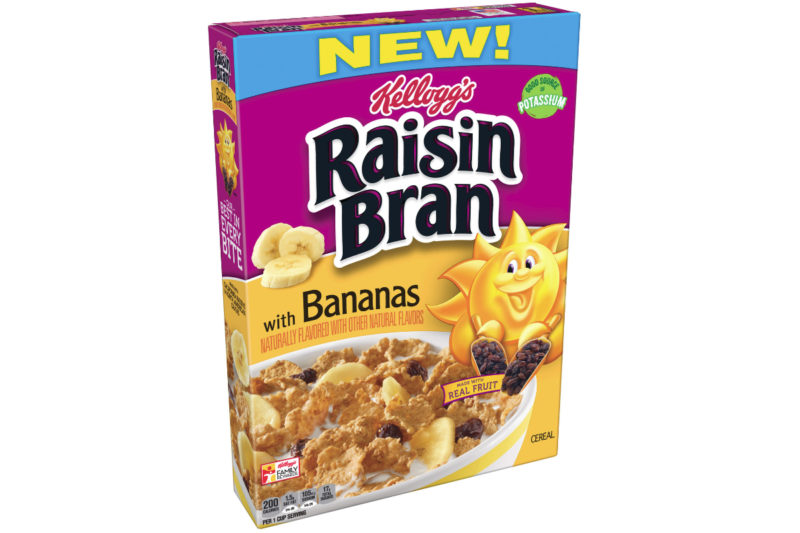 The Kellogg Co. is adding a banana boost to its Raisin Bran cereal with new Raisin Bran with Bananas. The cereal features slices of banana, crispy bran flakes, raisins and whole grains.
