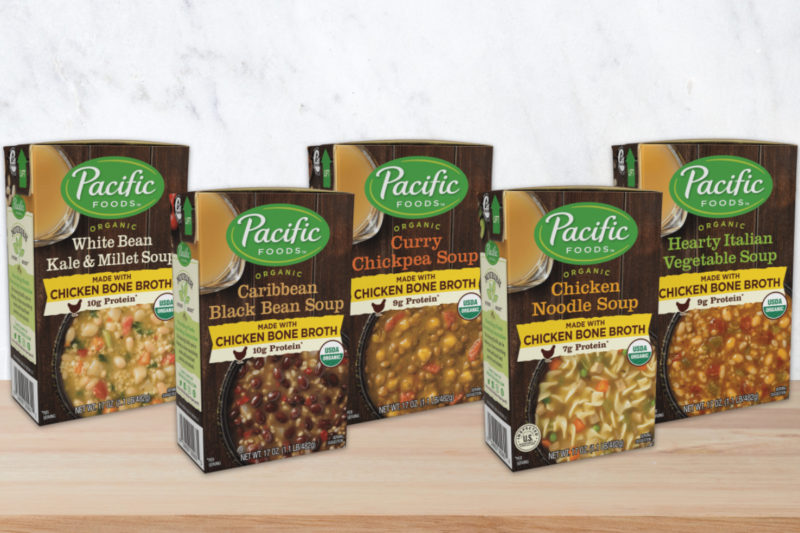 The Campbell Soup Co.'s Pacific Foods brand is offering a new line of organic soups made with the brand's organic chicken bone broth. Each soup contains 7 to 10 grams of protein from the broth and plant-based protein sources such as lentils, chickpeas and beans. All five varieties are U.S.D.A.-certified organic and free of genetically engineered ingredients, and all but the white bean kale and millet variety are dairy-free.  The Caribbean Black Bean soup features a blend of black beans, onions and red bell peppers.  The Chicken Noodle soup is made with organic chicken, egg noodles, onions, carrots and celery.  The Curry Chickpea Soup combines chickpeas, green lentils, vegetables, turmeric, cardamom, cinnamon, coriander and cloves.  The Hearty Italian Vegetable soup is a blend of red and green bell peppers, tomatoes, navy beans and traditional Italian herbs and spices.  The White Bean Kale & Millet soup features navy beans, kale, millet and parmesan cheese.