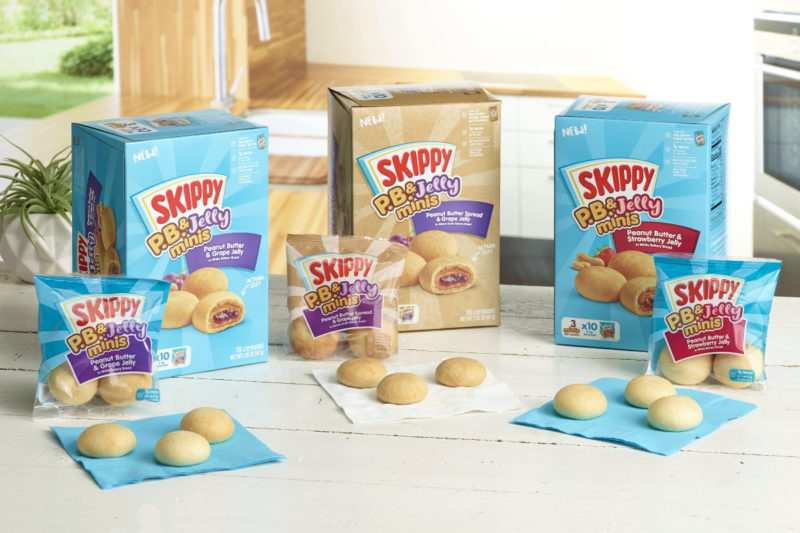 Hormel Foods Corp. is debuting new Skippy P.B. & Jelly Minis in the frozen aisle. The bite-size buns are filled with Skippy peanut butter and grape or strawberry jelly. Varieties include white bakery bread or whole grain bakery bread made with a special blend of doughs to create a soft texture, according to the company.