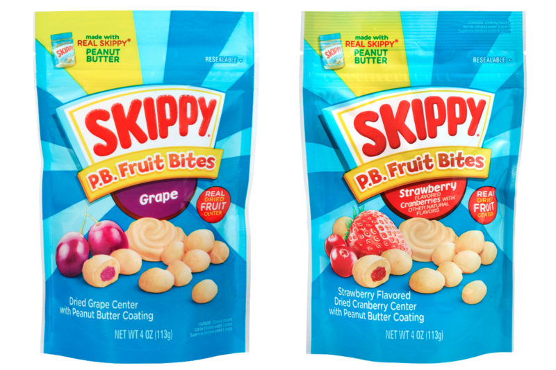 New from Hormel Foods Corp.'s Skippy brand is Skippy P.B. Fruit Bites, featuring dried fruit bites coated with Skippy peanut butter. Varieties include strawberry-flavored dried cranberry and dried grape.