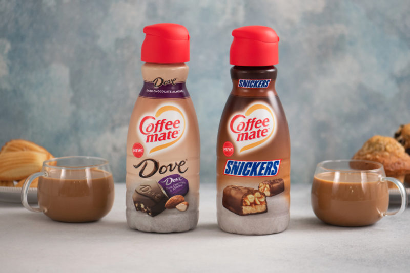 Candy-inspired coffee creamers are coming to the Coffee Mate portfolio. The Nestle USA brand is introducing Snickers and Dove Dark Chocolate Almond flavored creamers, available in 32-oz bottles.