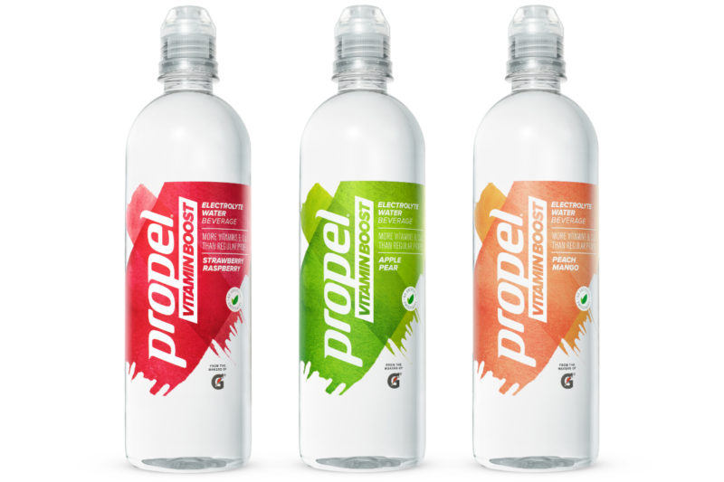 PepsiCo, Inc. in May launched Propel Vitamin Boost, a fitness water enhanced with 100% of the recommended daily value of vitamins B3, B5, B6 and C as well as electrolytes. The 20-oz bottles contain 10 calories each and come in three flavors: strawberry raspberry, apple pear and peach mango.
