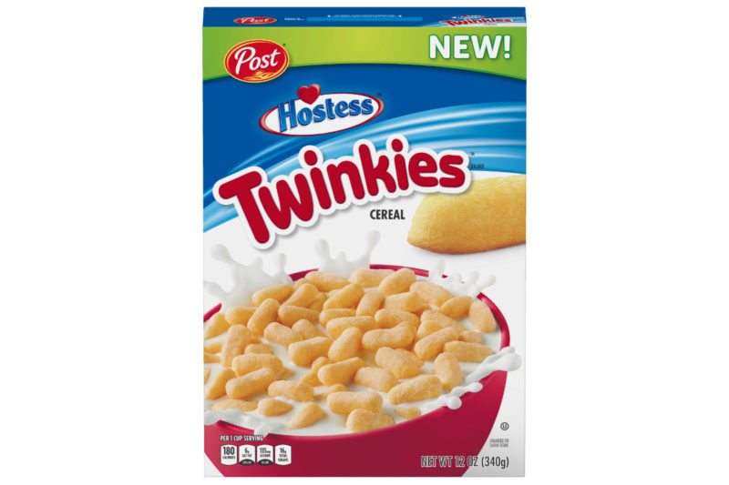 Post has partnered again with Hostess Brands, L.L.C. to bring the Twinkies brand to the cereal aisle in late December. New Post Hostess Twinkies cereal replicates the taste and oblong shape of the golden-colored snack cakes and contains 180 calories and 16 grams of sugar per 1-cup serving.
