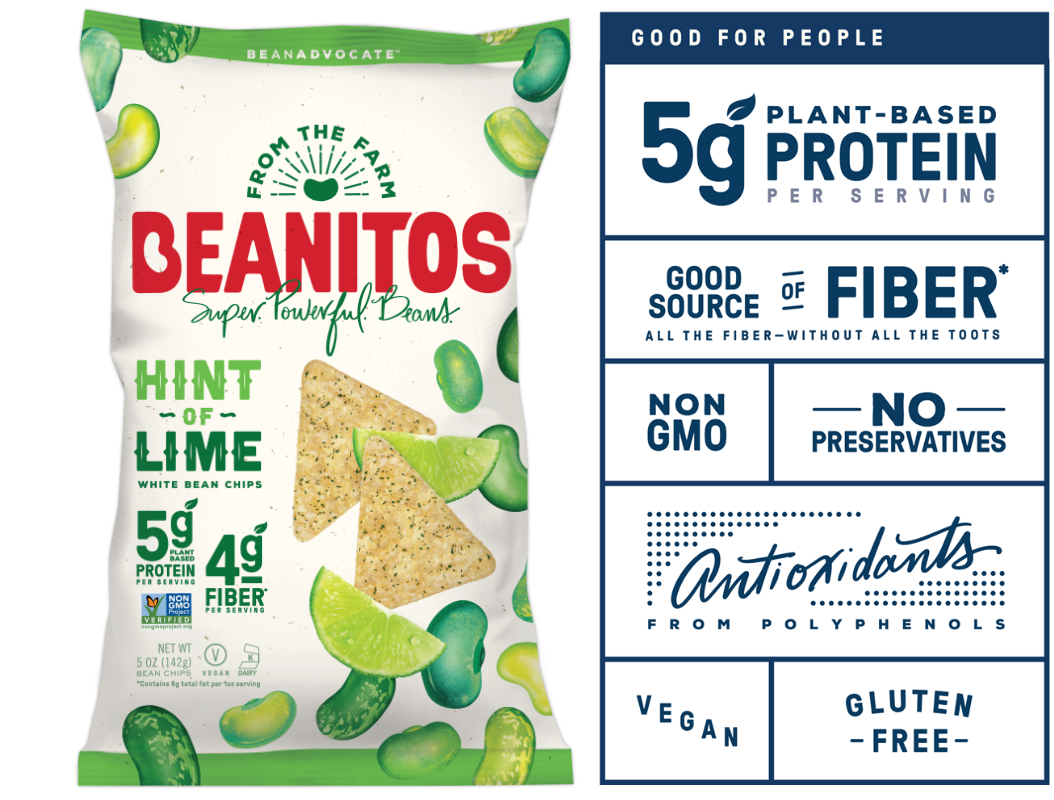 Beanitos Hint of Lime chips and label
