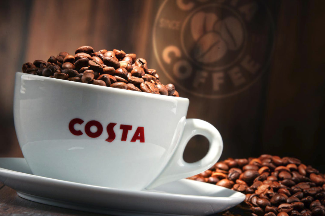 Costa Coffee mug and beans