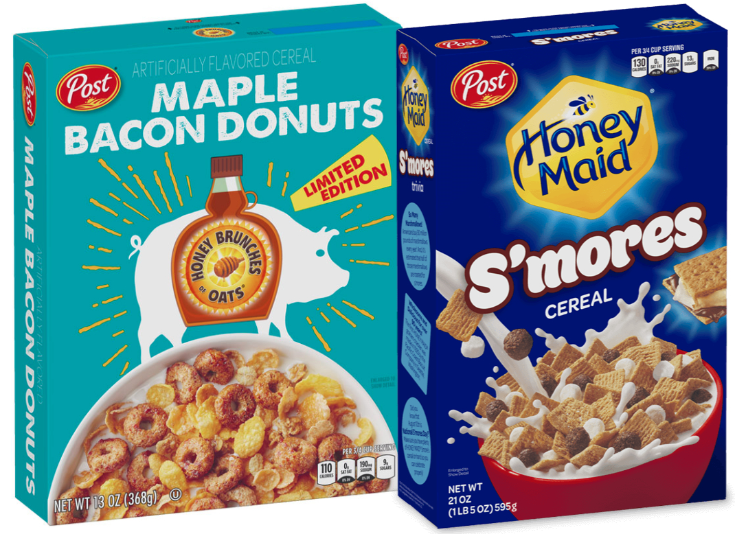 Post Maple Bacon Donut cereal and Honey-Maid S'mores Cereal
