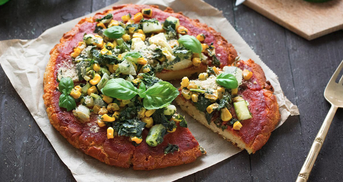 Chickpea crust pizza