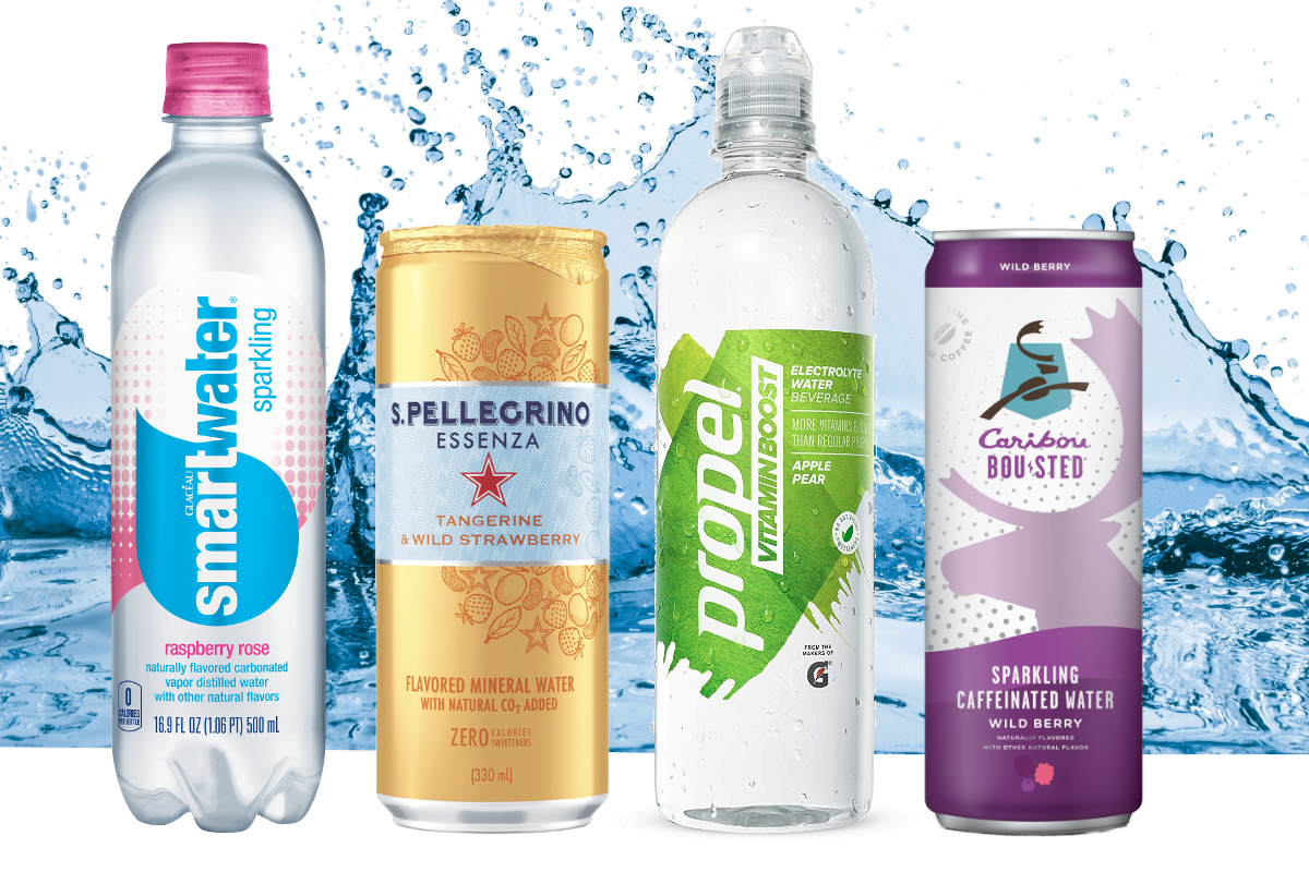 Flavored and functional waters from Coca-Cola, PepsiCo, Nestle and Caribou Coffee