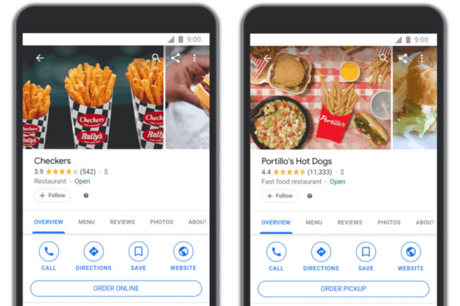 Google and Olo restaurant ordering