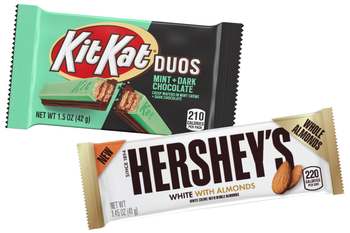 Hershey White with Almonds and Kit Kat Duos Mint + Chocolate
