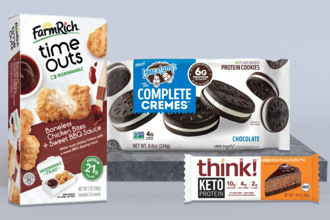 Protein-packed snacks from Farm Rich, Lenny & Larry's and Think!