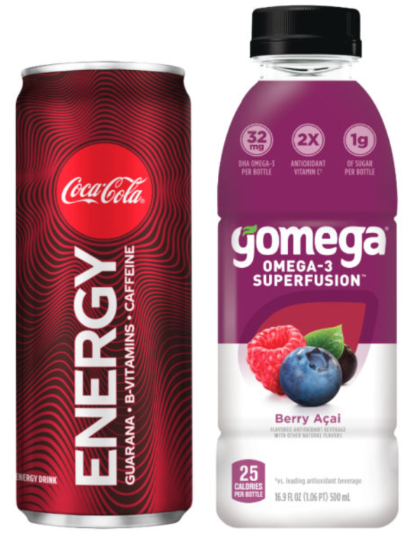 Coca-Cola Energy and Gomega beverages