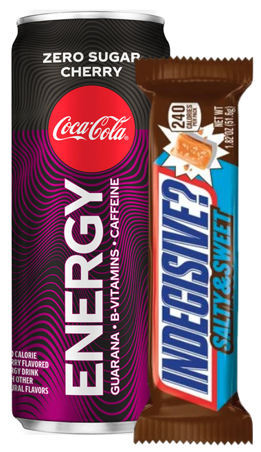Coke Energy and Snickers Sweet & Salty