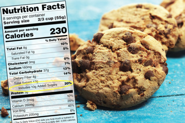 Nutrition facts added sugars label for cookies