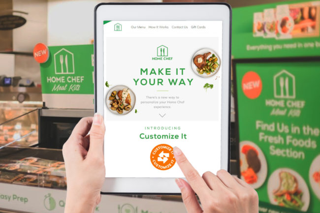 Home Chef customizable meal kits, Kroger