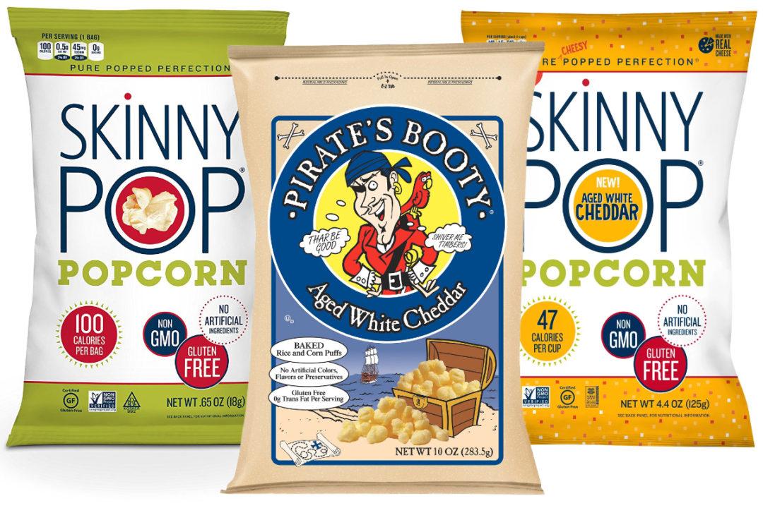 SkinnyPop and Pirate's Booty snacks, Hershey