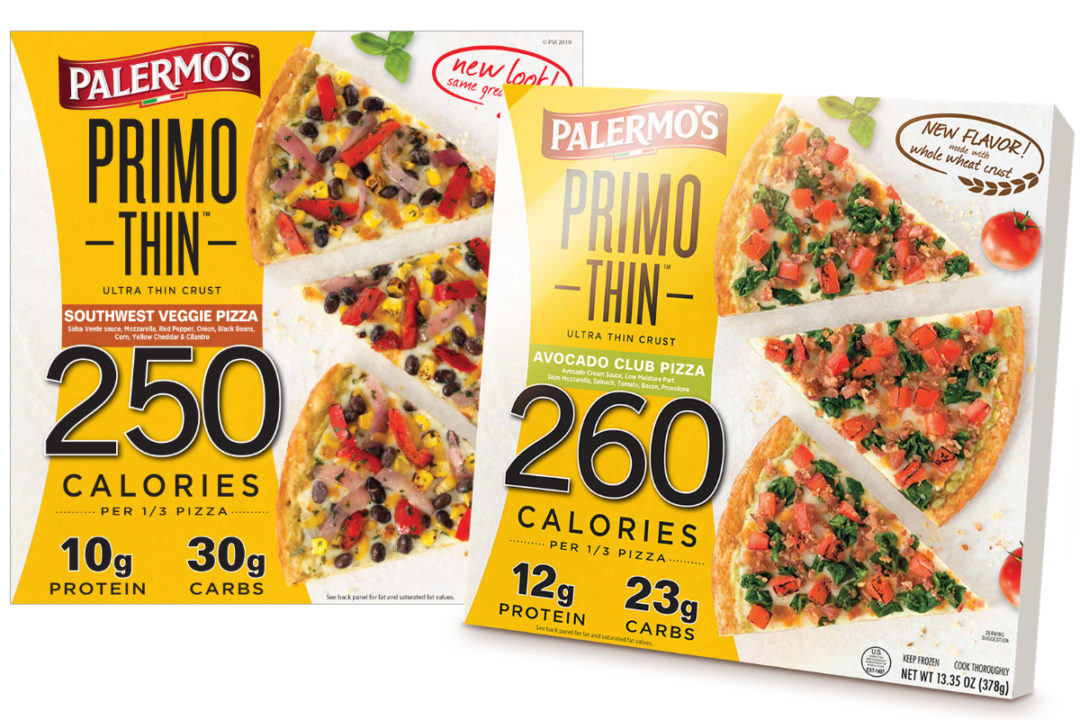 Palermo's Primo Thin Avocado club and Southwest veggie pizzas