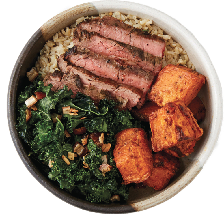 Dig Inn Steak Marketbowl with sweet potatoes and kale caesar