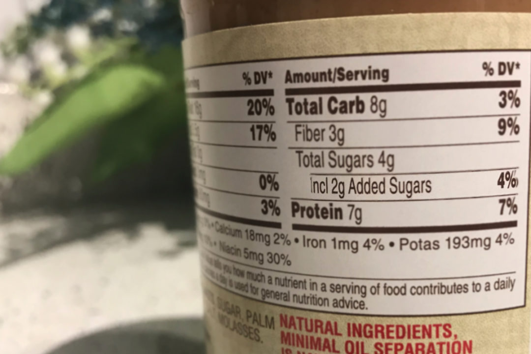 Added sugar label on peanut butter