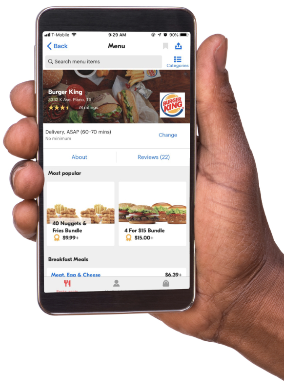 Burger King Grubhub delivery app