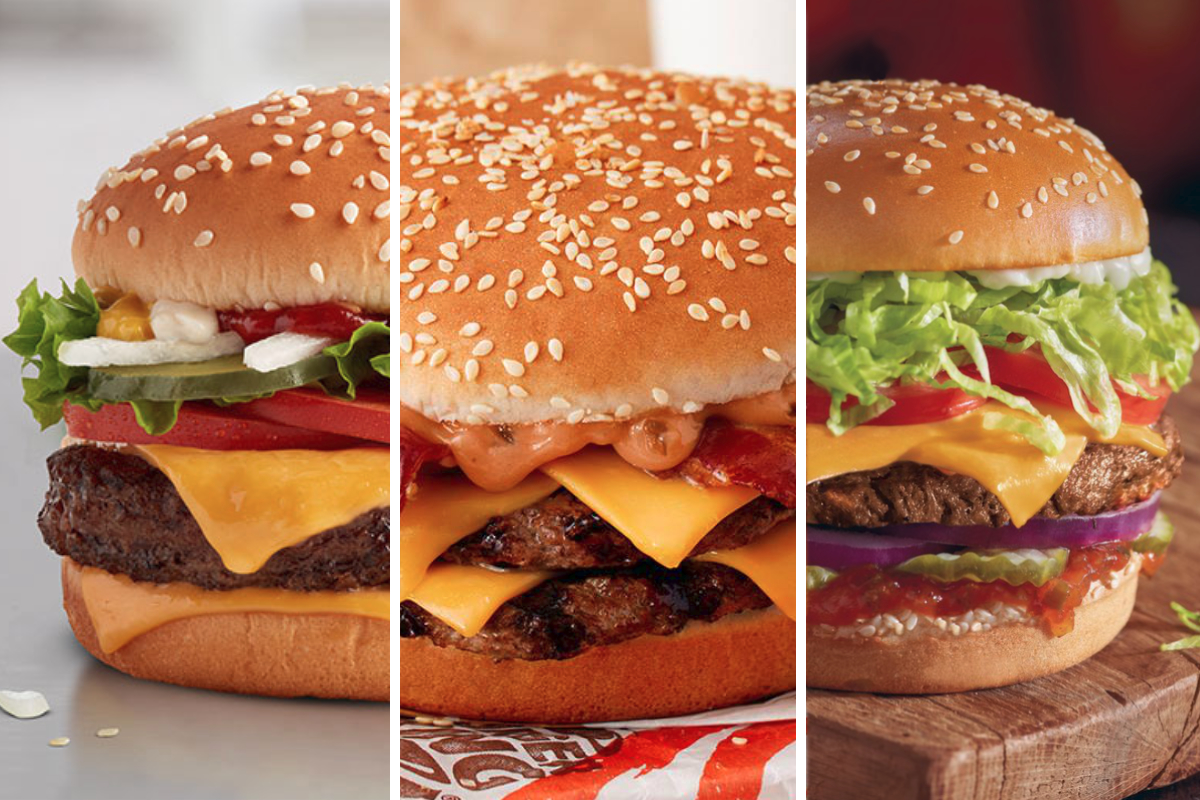 Burgers from McDonalds, Burger King and Red Robin