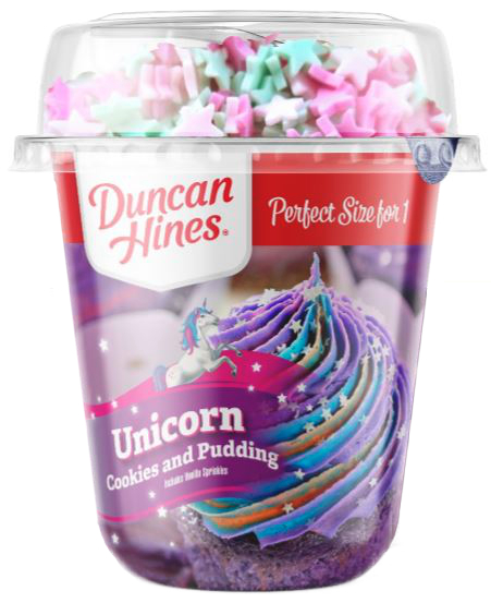 Duncan Hines Unicorn Cookies and Pudding Cup, Conagra Brands