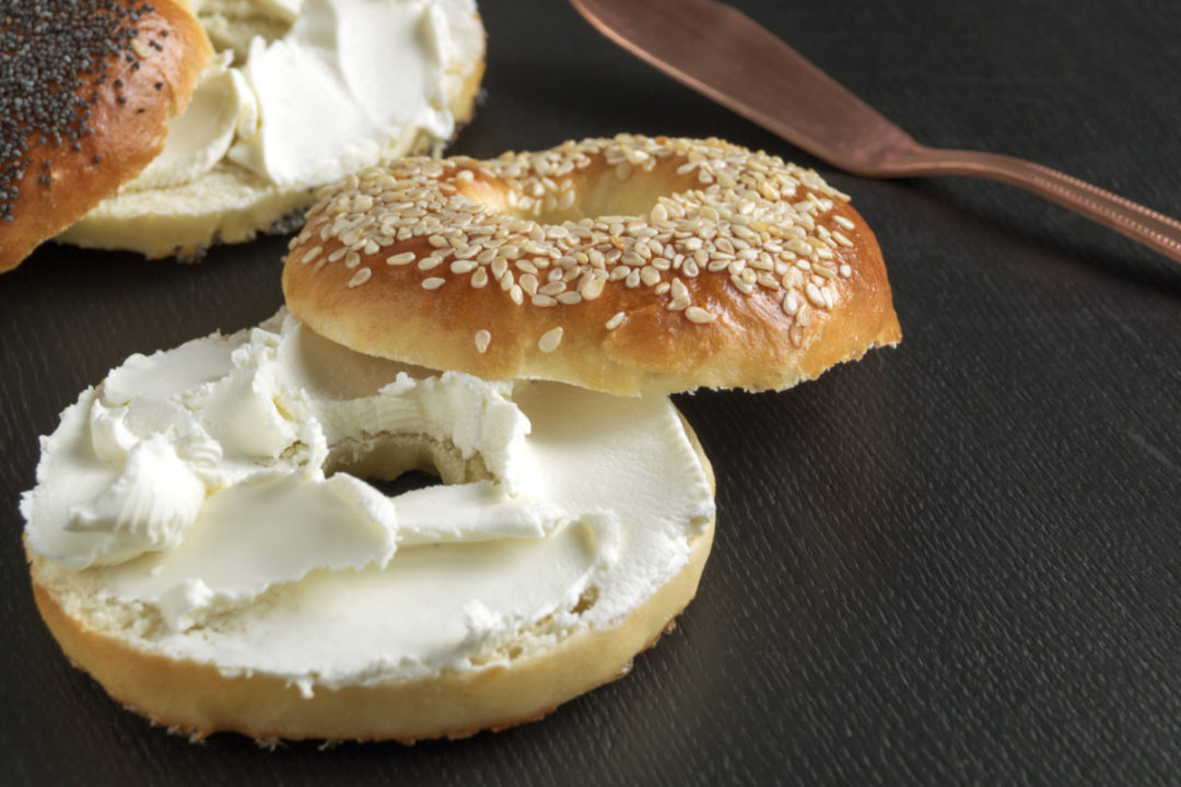 Bagel with cream cheese, processed food