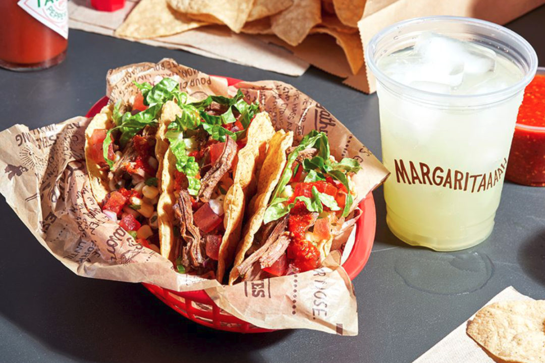 Chipotle tacos and margarita
