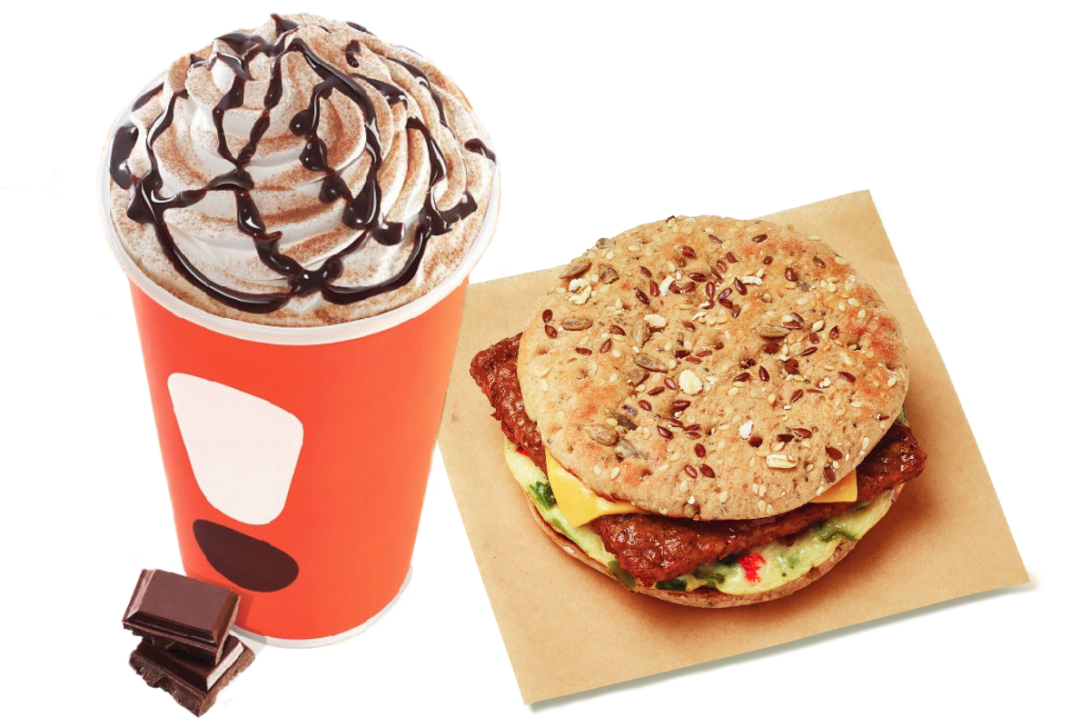 Dunkin espresso and Power Breakfast Sandwich