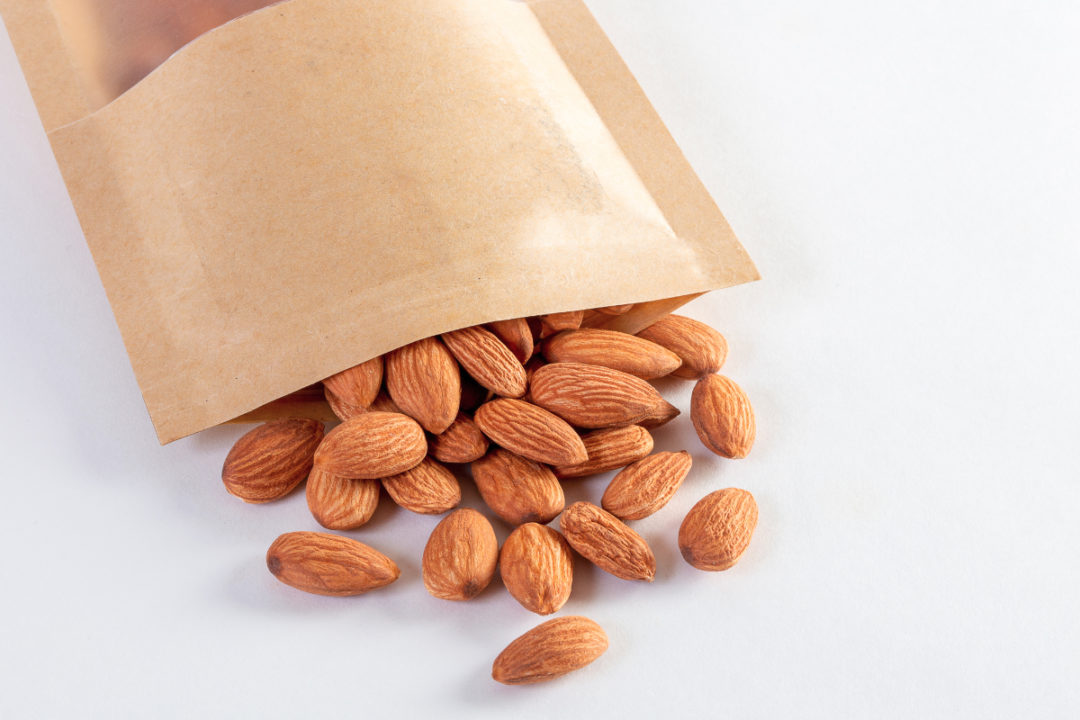 Package of snacking almonds