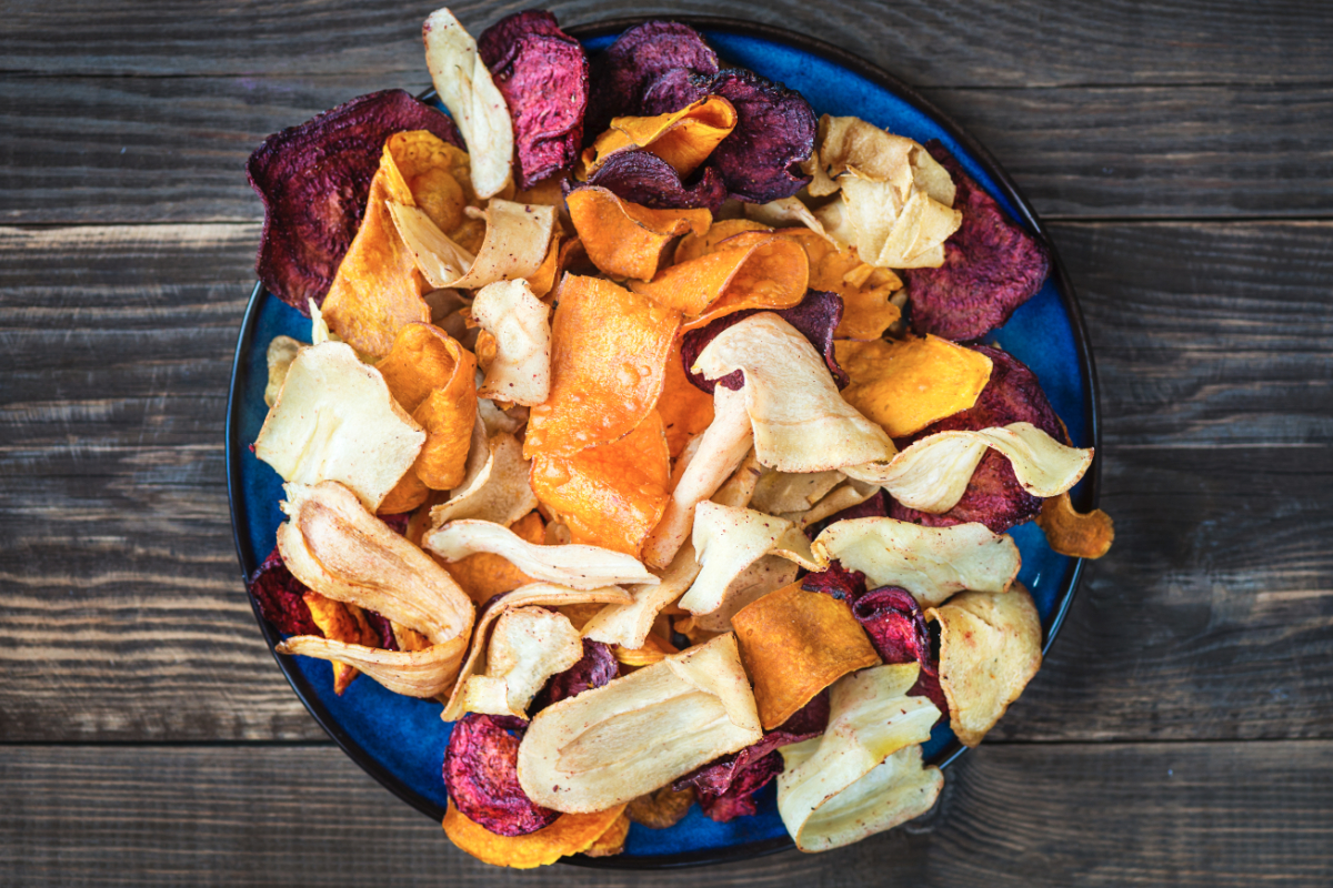 Bowl of dried vegetable chips