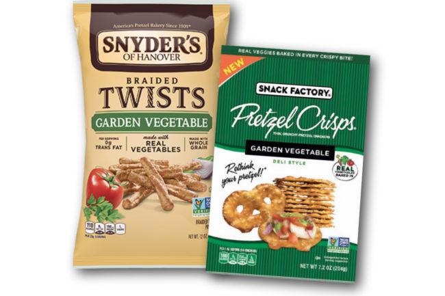 Snyder's of Hanover and Snack Factory Pretzel Crisps garden vegetable pretzels, Campbell Soup
