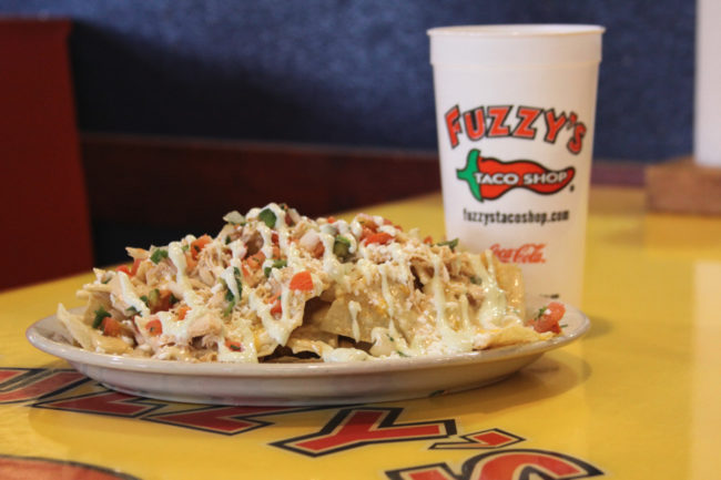 Fuzzy's Taco Shop nachos and drink