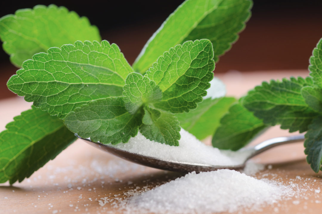 Stevia leaf and stevia sweetener in a spoon