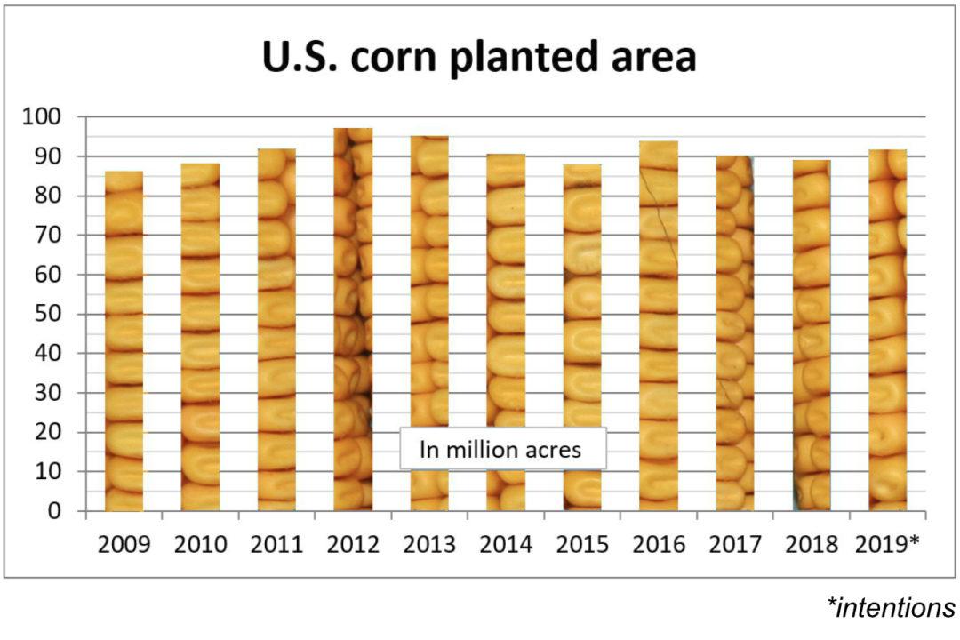 U.S. corn planted area chart