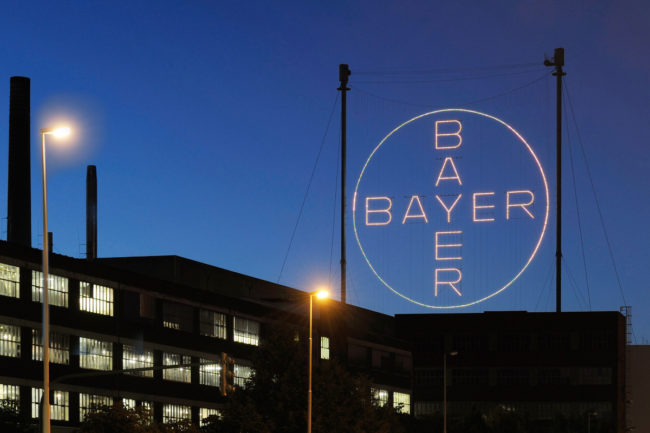 The Bayer Cross in Leverkusen at night