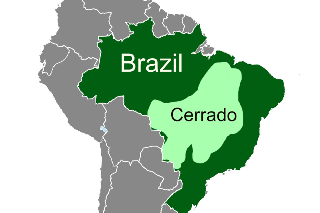 map of Brazil with the Cerrado region highlighted
