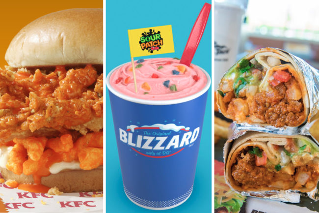 New menu items from KFC, Dairy Queen and Del Taco